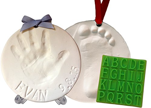 Baby Handprint Footprint Keepsake Kit (Makes 2) - Bonus Stencil for Personalized Newborn & Baby Shower Gifts. With Display Stand! Non-toxic Air Dry Clay. Dries Light & Soft So It Wont Crack.