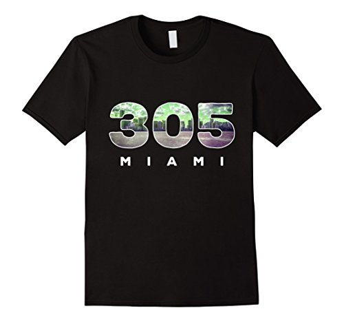 Mens 305 Miami Florida Area Code Pride T-Shirt Large Black -