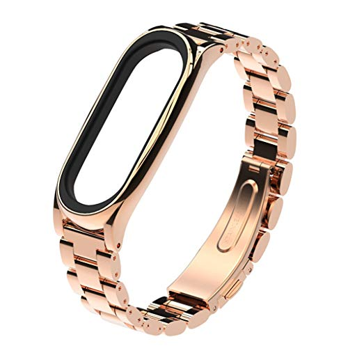 Kanzd Luxury Stainless Steel Bracelet Replacement Watch Band Strap for Xiaomi Band 4 (Rose Gold)