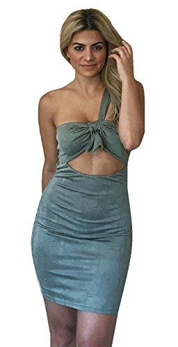 Dettaglio Fuori Abbigliamento Nodo Cravatta Una Slim Spalla Verde Fit Mini Bodycon Oliva Tagliato Abito Donna HAqnf4qI0