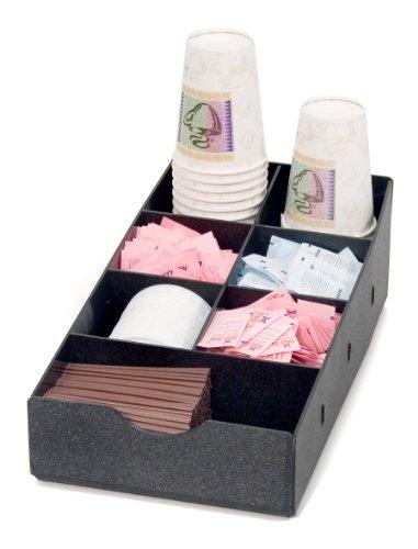 Vertiflex 7-Compartment Condiment Caddy, Single Level, 8.75 x 16 x 5.25 Inches, Black (VFCC-169) by Vertiflex