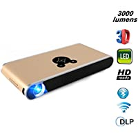 3000 Lumens HD Mini LED Projector Android 4.4 DLP 8G Wifi Bluetooth 4.0 Multimedia Home Theater Video Projector Support 1080P HDMI USB SD Card VGA AV Built-in Blu-ray for Home Cinema