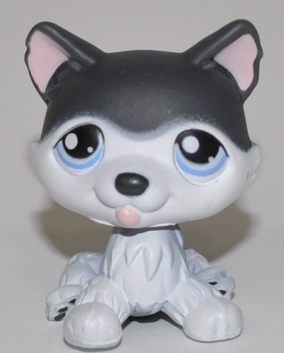 Husky #210 (White, Black Accents) - Littlest Pet Shop (Retired) Collector Toy - LPS Collectible Replacement Single Figure - Loose (OOP Out of Package & Print) 210 Single
