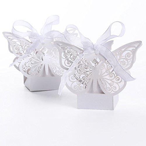 set de cajitas con forma de mariposa para boda dulces regalos bombones y detalles color blanco xth amazones hogar