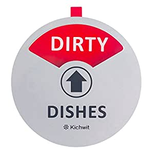 """Kichwit Clean Dirty Dishwasher Magnet with The 3rd Option """"Empty"""", Non-Scratch Strong Magnet Backing & Residue Free Adhesive, 3.5"""" Diameter, Silver"""