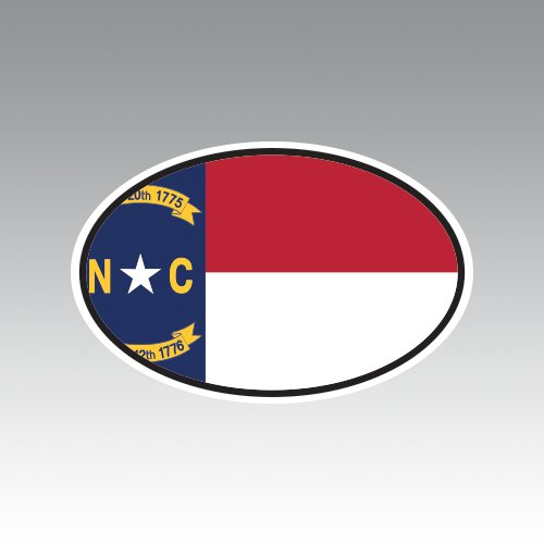 State Flag Oval Decal (North Carolina State Flag Oval V4 Sticker - Die Cut - Decal - NC)