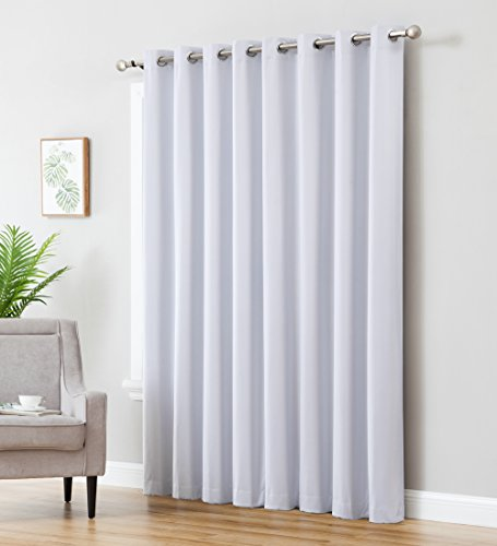 HLC.ME Textured 100% Blackout Room Darkening Thermal Insulated Curtain Grommet Panel for Sliding Glass Patio Door - Energy Efficient, Complete Darkness, Noise Reducing (100