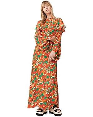 Mango Women's 100% Silk Flower Dress