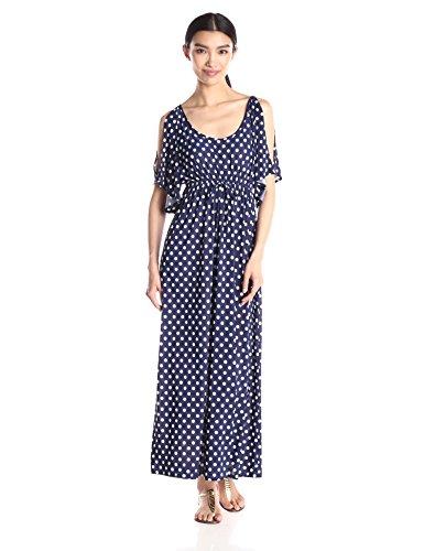 Star Vixen Women's Slit Flutter Sleeve Maxi Dress with Empire Drawstring Waist, Navy White Dot, Large ()