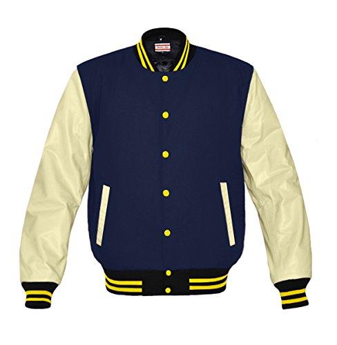 Original American Varsity Real Cream Leather Letterman College Baseball Men Wool Jackets (Navy Letterman Wool Jacket)