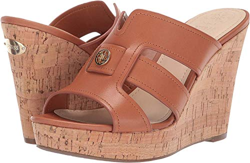 (GUESS Womens Eadra2 Open Toe Special Occasion Platform Sandals, Tan, Size 7.0)