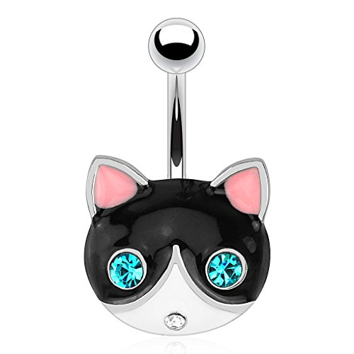 Dynamique Black Cat Face with Emerald Gemmed Eyes 316L Surgical Steel Belly Button Ring