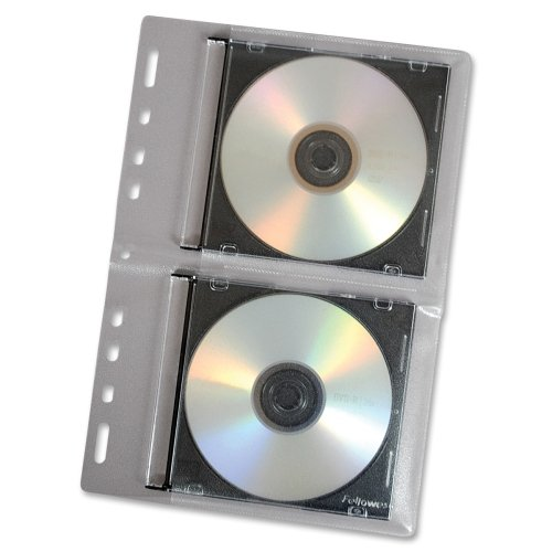 (Fellowes CD Binder Sheet - 10 Pack - Sleeve - Slide Insert - Vinyl - Clear - 2 CD/DVD)