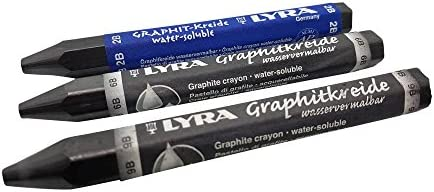 2B Drawing LYRA Graphite Crayon Sketching. Solid Graphite Stick 6B or 9B
