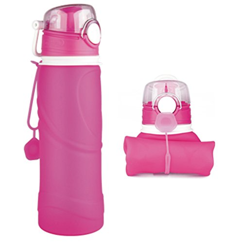 Lamaston 750ML folding water bottle silicone Collapsible drinking bottle BPA Free FDA approved safe sports travel water bottle -40℃-240℃ resistance (Pink)