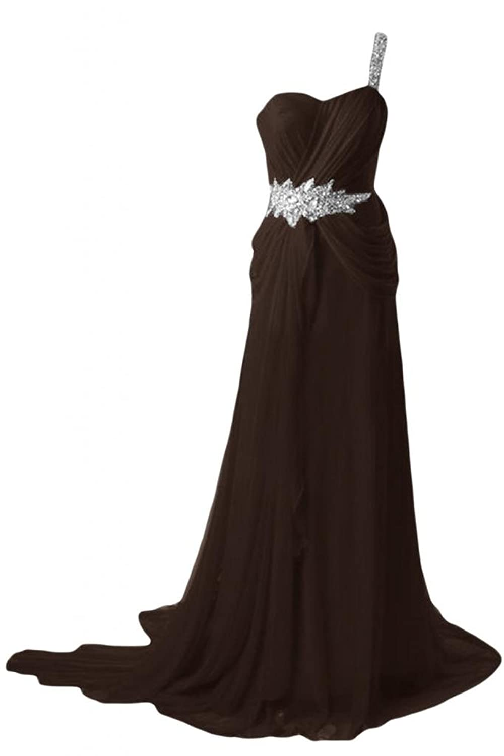Sunvary Women Elegant A Line Chiffon Party Prom Gowns One-Shoulder long Evening Dresses