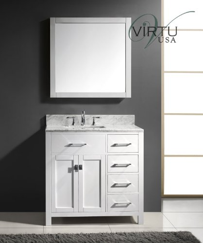 Virtu USA Caroline Parkway 36 inch Single Sink Bathroom Vanity Set in White w/Square Undermount Sink, Italian Carrara White Marble Countertop, No Faucet, 1 Mirror - MS-2136R-WMSQ-WH