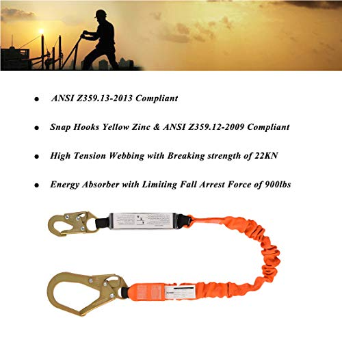 Single Leg 6-Foot Fall Protection Shock Absorber Stretch Safety Lanyard with Snap & Rebar Hook Connectors ANSI Z359.13-2013 Complaint by WELKFORDER (Image #3)