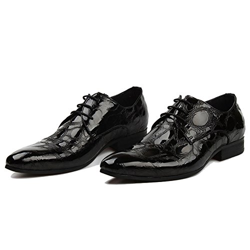 RENHONG Bout Pointu à Lacets Chaussures à Lacets Business Formal Leather Wedding Groom Work Office Derby Noir Rouge Black uyg7gGuS