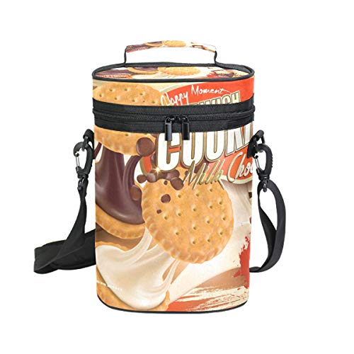 (Insulated Wine Tote Carrier Chocolate Milk Cookies 2 Bottle Wine Carry Cooler Tote Bag for Travel or Picnic, Perfect Wine Lover)