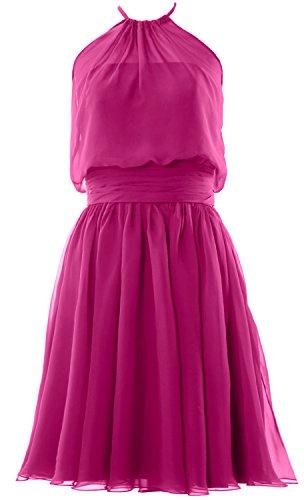 Halter Women Party MACloth Short Gown Fuchsia Bridesmaid Formal Chiffon Cocktail Dress gSwqw5C