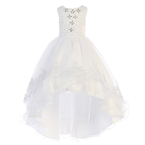 Train Short Sleeve Satin (Angels Garment Little Girls White Satin Tulle Train Flower Girl Dress 4)
