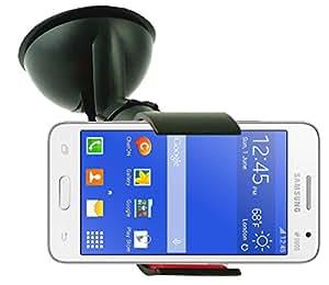 Emartbuy® Soporte para Coche de Pinzas con Ventosa y Giro de 360° para Salpicadero Parabrisas Universal Negro y Apto para Samsung Galaxy Core 2 - Incluye un Cargador de coche Micro USB