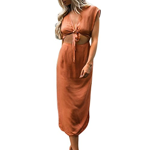Ourlet Col Femme lache Plage Femme de Robe Weant Femme Robe Ete Robe Caf V de Femme Pure Bohmien Robe Longue Couleur Chic Robe Soire Femme Robe Bandage C4qawP