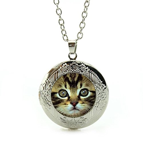 Cabochon Silver Handmade Sterling Pendant (Women's Custom Locket Closure Pendant Necklace Cute Cat Face Glass Dome Cabochon Included Free Silver Chain, Best Gift Set)