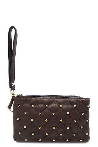 Studded Coin (STUDDED QUILTED HANDBAG REPUBLIC MESSENGER BAG DESIGNER INSPIRED CROSSBODY PURSE COFFEE COLOR - SMALL)