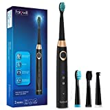 Sonic Electric Toothbrush Rechargeable for Adults, 4 Replacement Heads Orthodontic Cleaning for Braces with 2 Minutes Timer, USB Fast Charging Portable Sonic Toothbrush Black by Fairywill