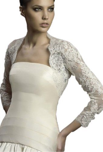 Albizia Women's Long Sleeves Lace Beaded Bridal Gown Bolero Jacket (16, Ivory)