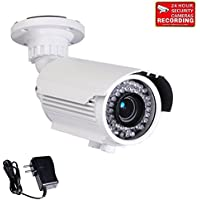 VideoSecu Built-in 1/3 Sony Effio CCD Bullet 700TVL High Resolution Day Night Outdoor 42 IR Infrared LEDs Varifocal Lens Security Camera for CCTV DVR Surveillance System with Free Power Supply BTZ