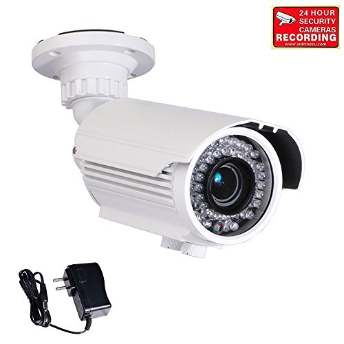 VideoSecu Built-in 1/3'' Sony Effio CCD Bullet 700TVL High Resolution Day Night Outdoor 42 IR Infrared LEDs Varifocal Lens Security Camera for CCTV DVR Surveillance System with Free Power Supply -