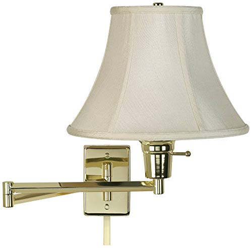Creme Bell Polished Brass Plug-in Swing Arm with Cord Cover - Barnes and Ivy