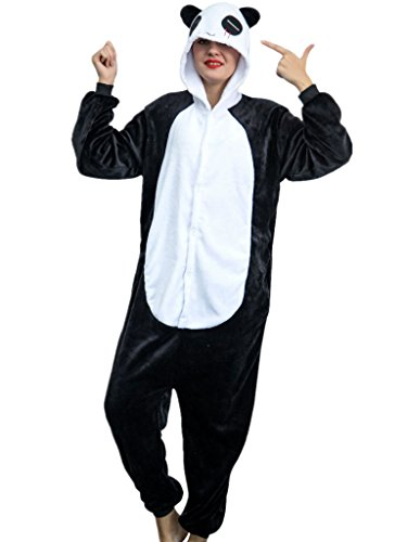Adult Pajamas Panda Costume Onesies for Women Men Teens Girls Youth Animal Onsie,Black Panda,L Fit Height 66