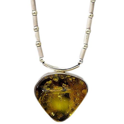 Sterling Silver Freeform Amber Pendant Necklace (Freeform Amber Pendant)