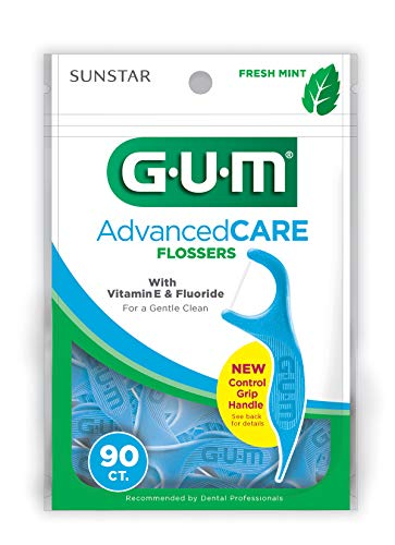 GUM Advanced CARE Flossers (90 Flossers) Fresh Mint with Vitamin E Fluoride