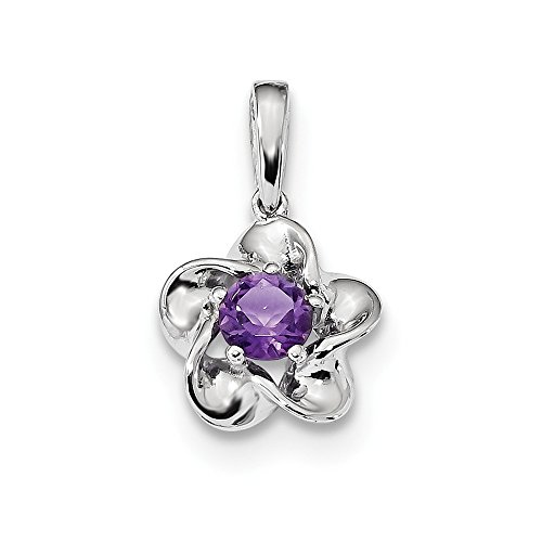 (925 Sterling Silver Floral Purple Amethyst Pendant Charm Necklace Set Birthstone February Fine Jewelry Gifts For Women For Her)