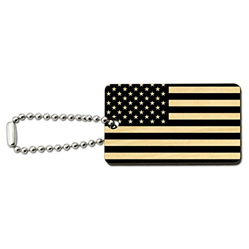 Subdued American USA Flag Black White Military Tactical Wood Wooden Rectangle Keychain Key Ring