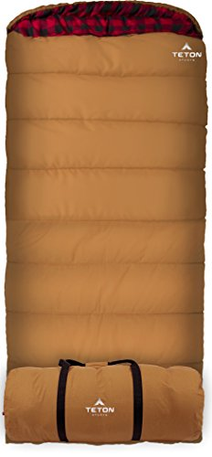 TETON Sports 1025L Deer Hunter Sleeping Bag; Warm and Comfortable Sleeping Bag Great for Fishing, Hunting, and Camping; Great for When it's Cold Outdoors; Brown, Left Zip