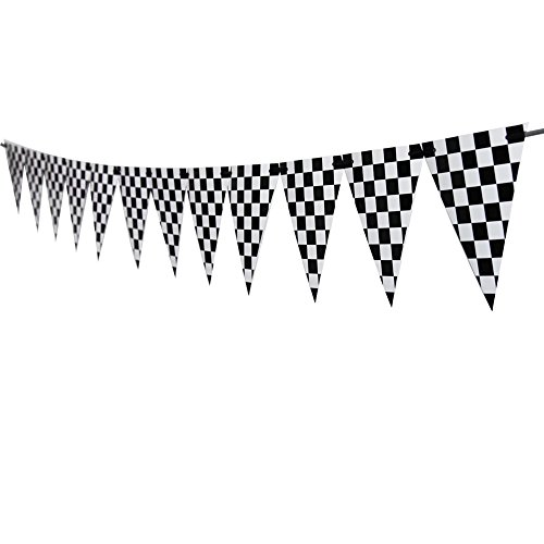 Checkered Banner,Race Car Party Flags For Race Theme Birthday Decoration 15 (Cars Theme Party Supplies)