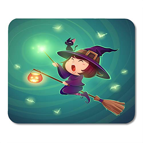 Nakamela Mouse Pads Black Halloween Flying Little Witch Girl Kid in Costume Holds Magic Wand Retro Vintage Turquoise Cute Mouse mats 9.5