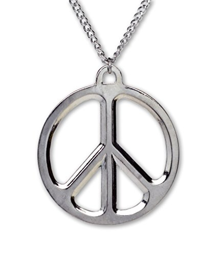 Polished Peace Sign Pendant - Real Metal Hippie Peace Sign Polished Silver Finish Pewter Pendant Necklace