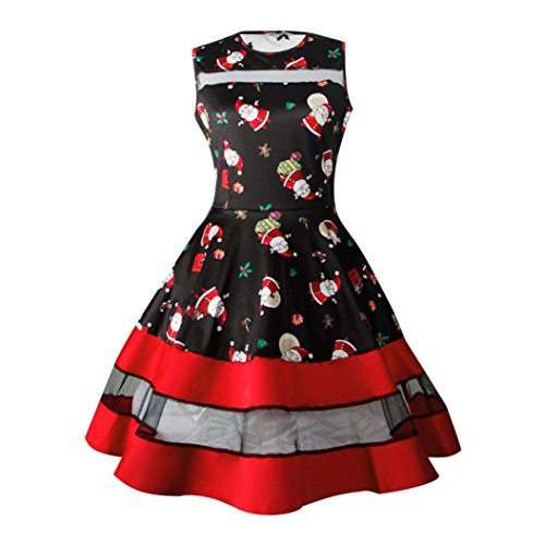Price comparison product image Women Dress,  Gillberry Women's Vintage Christmas O-Neck Printed Party Retro A-Line Swing Dress (B,  M)