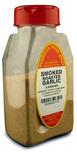 SMOKED ROASTED GARLIC GRANULATE FRESHLY PACKED IN LARGE JARS, spices, herbs, seasonings