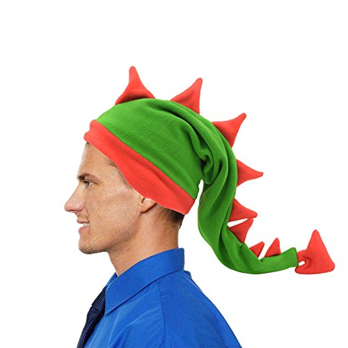 Funkeet Crazy Long Plush Spike Dragon Stegosaurus Tail Hat Fun Party Costume Cap (for Adult, Red + -