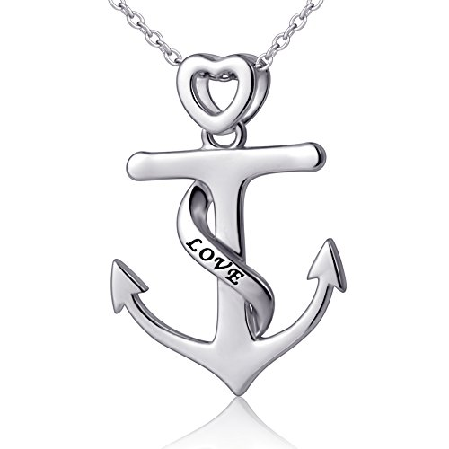 Adventure Love Heart Anchor Pendant Necklace,18