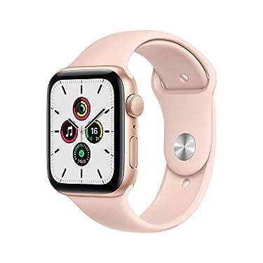 Apple-Watch-SE-GPS-44-mm-Caja-de-aluminio-en-oro-Correa-deportiva-rosa-arena