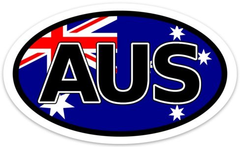 (Backwoods Barnaby Australia Sticker/Self Adhesive Flag Vinyl Decal AUS Bumper Sticker (Oval))